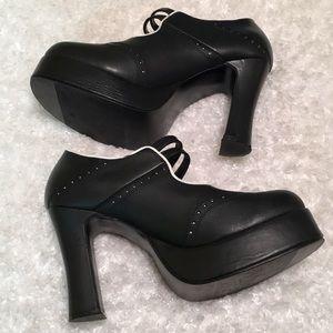 TUK Black & White Platform Heels with Straps